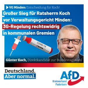 3G-Regelung in kommunalen Gremien ist rechtswidrig! – Großer Sieg für Ratsherr Koch vor dem VG Minden
